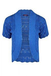 Be Jealous NEUF pour femmes crochet tricot manches courtes pour femmes jabot étole Bolero cardigan haut 8-14 – Bleu Roi, M/L (UK 12/14)