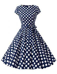 Dressystar DS1956 Robe à 'Audrey Hepburn' Classique Vintage 50's 60's Style à mancheron Marine à pois blanc B S