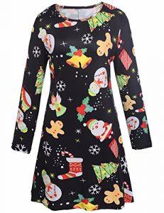 Femmes Filles du Père Noël et damiers Imprimer évasé Fit Robe Swing