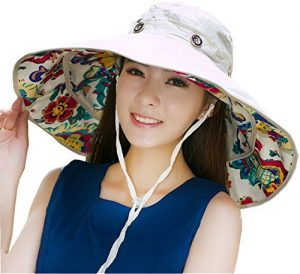 iHomey Chapeau de soleil, capeline, large bord décapotable, réversible UPF 50+ bob contre le soleil pour plage., femme, beige