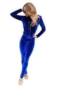 YOUJIA 2pcs Femme Ensemble de Survêtement Manche Longue Hoodies Sweatshirt Cardigan Sweats à capuche Pantalons Trousers 2pcs (Bleu, CN M)
