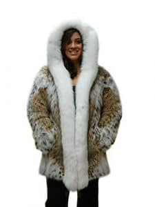 30 » veste de fourrure de lynx naturel renard blanc tuxedo et renard attaché capot garni