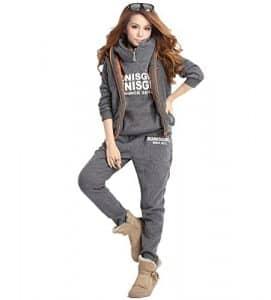 NiSeng Femmes Survêtement Suit Hoodie Coat+Vest+Pantalon 3 En 1 Automne Hiver Sportwear Jacket Outwear Gris Foncé 5XL