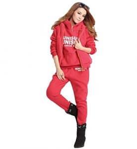 NiSeng Femmes Survêtement Suit Hoodie Coat+Vest+Pantalon 3 En 1 Automne Hiver Sportwear Jacket Outwear Rouge 2XL