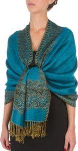 178cm x 71cm Dessins bordures Double épaisseur Type Tissé Pashmina Châle / Echarpe / Etole – Turquoise