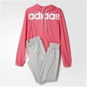 Adidas Essentials Linear Cotton Survêtement pour femme L Rose – Top:Super Pink/White Bottom:Medium Grey Heather/White