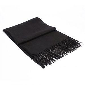 Écharpe Femme Étole Pashmina Tissage Uni Châle Foulard Chaud Tassels Couleur Unie Doux et Long 200 x 70 cm((10+ Couleurs) (Black)