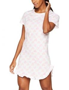 Iris & Lilly Chemise de Nuit Courte à Coeurs Femme, Blanc (White/pink), Small