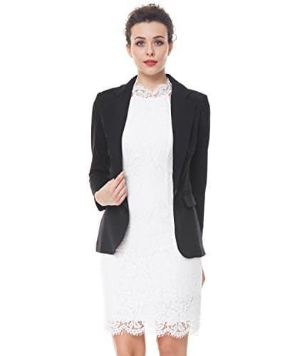 kenancy veste de tailleur noir veste costume femme classique manche longue col revers pour. Black Bedroom Furniture Sets. Home Design Ideas