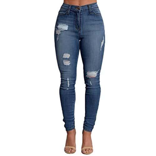 ZKOO Femme Denim Pantalons Taille Haute Jeans Slim Leggings Collant Crayon Casual Déchiré Pants XL