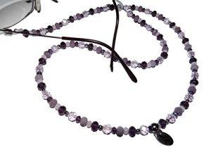 ARTEM Los® main chaîne de lunettes Femme en Acier Inoxydable et perles mauve