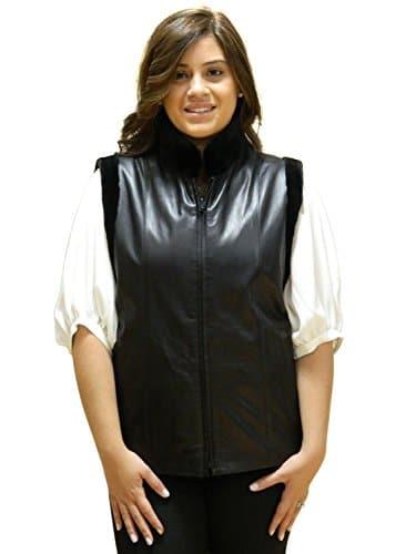 FursNewYork 24 » cisaillé brun fourrure de vison et cuir d'agneau zip réversible veste