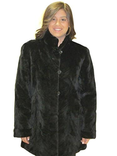 FursNewYork noire cisaillée sculpté fourrure de vison longue veste réversible