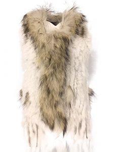 Uilor® Femmes 100% naturel Knit lapin fourrure Veste avec col de fourrure de rat