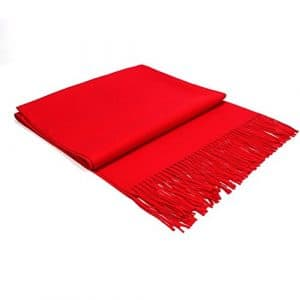 Écharpe Femme Étole Pashmina Tissage Uni Châle Foulard Chaud Tassels Couleur Unie Doux et Long 200 x 70 cm((10+ Couleurs) (Red)