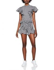 House of Holland Cotton Frill Playsuit, Combinaison Femme, Black (Balck Gingham), 40