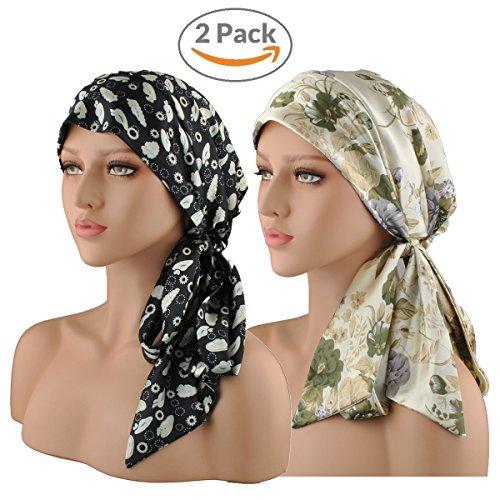 EINSKEY Turban Chimio Femme, Été Anti UV Mode Chic Hijab Bandana Set pour Cancer, Chimiothérapie, Maquillage, Chute cheveux, Dormir, Musulmans