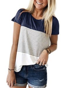 Yidarton Tee Shirt Femme Manche Courte Casual ¨¦t¨¦ Col V Rayures Color¨¦es Mode Top Blouse Haut (M, 2-Marine)