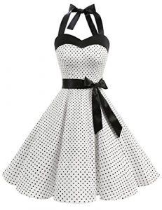 Dresstells Version3.0 Vintage 1950's Audrey Hepburn pin-up robe de soirée cocktail, style halter années 50 à pois, blanc S
