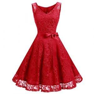 Dressystar DS0010 Robe femme soirée/demoiselle d'honneur/bal Col en V sans manches dentelle avec une ceinture Rouge L