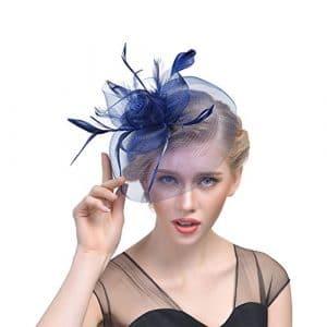 ZYCC Pince à Cheveux Élégant Plume Fascinator Mesh Voile Chapeau Mariage Fête Cocktail (Bleu profond)