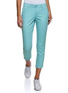 oodji Ultra Femme Pantalon Chino en Coton, Turquoise, FR 44/XL