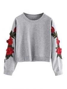 ROMWE Sweat-Shirt Femme brodé Fleurs 3D Sweat Manches Longues