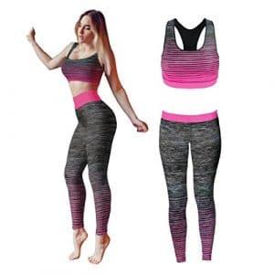 Bonjour – Vêtements de sport pour femmes: ensemble veste / gilet et top / legging, stretch-fit pour yoga et gymnastique, Pink Crop Top, One Size ( UK 8 – 14 )