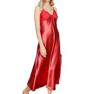 Hibote Longues Femmes Nuit Robe Sexy Dentelle Chemise de Nuit Soie Satin Nuisette Nuit Robe de Nuit Rouge L