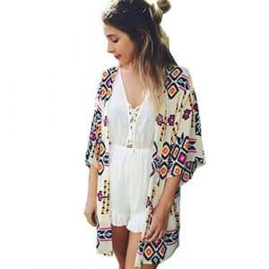 QinMM Femmes Chic Mousseline de Soie Cardigan Kimono Haut de Veste Châle Chemise Plage, Été Lâche Blouse Imprimé Motif Irrégulier Bohême Tops Ouvert Élégant Dentelle Mode Couvrez-Vous