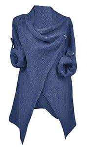 Aidonger Femme Pull Cardigan Irrégulière Pulls et Gilets Tricot à Longues Manches S-2XL (L / EU 36-38, bleu)