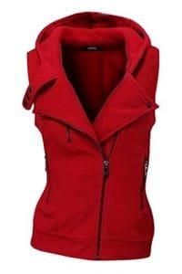 Les Femmes Est Décontracté Côté Fermeture Sans Manches Sweatershirt Sweat Gilet Slim Red L