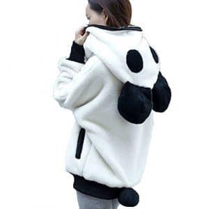 MORCHAN ❤Ours Mignon Oreille Panda Hiver Chaud à Capuche Manteau Femmes Veste à Capuchon Blouse Beachwear Tops Veste Sweat Manteau Chemise en Maille Tunique (M, Blanc)