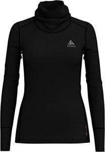 Odlo T- Shirt ML col Montant Natural Manches Longues Femme, Noir, FR : L (Taille Fabricant : L)