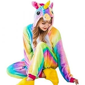 GOTH Perhk Unisexe Femme Enfant Combinaison Pyjama Licorne Pyjama Une Pièce Unicorne â Capuche Costume Cosplay Déguisement H01-Femme M