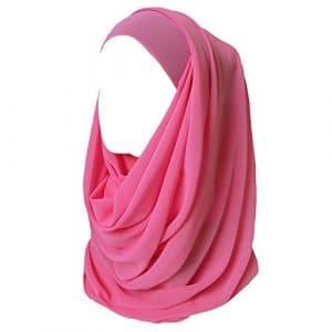 Lina & Lily Hijab pour Femmes Mousseline Foulard Écharpe Turban Châle Islamique (Rose)