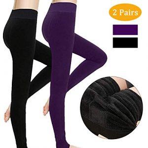 Philonext Lot de 2 leggings pour femmes, pantalons de leggings élastiques pour le velours chaud d'hiver, collants extensibles pour femmes