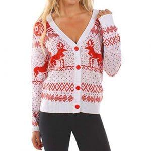 SANFASHION Soldes Chandail Noel Femme,Tops Haut Sport Casual Pull Chic Blouse Sweatshirt Mode (XL, Blanc De noël)