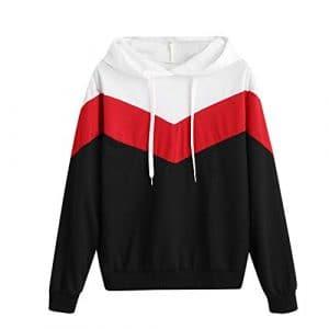 Sweatshirt Femme Imprimé, LMMVP Femmes Automne Occasionnelles Patchwork Manche Longue Sweat à Capuche Pullover Sweat-shirt Chemisier (M, rouge)