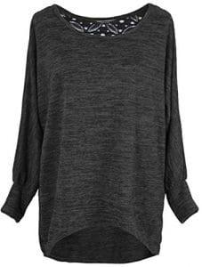 Emma & Giovanni – Pull/Tshirt Dos en Dentelle – Femme (L/XL, Noir)