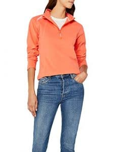 Geographical Norway Talmud Lady Half Zip, Pull sans Manche Femme, Orange Coral, Large