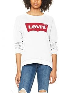 Levi's Relaxed Graphic Crew, Sweat-Shirt Femme, Blanc (Better Batwing Sweatshirt White 0014), Large