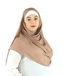 SAFIYA – Hijab foulard à enfiler pour femme I Turban pret a porter voile musulmane pashmina bonnet châle islamique paillettes abaya I Mousseline premium I Beige clair