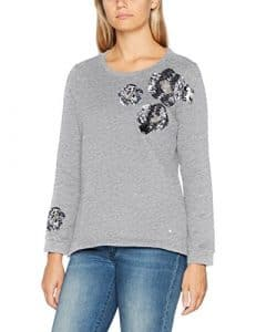 TOM TAILOR Embroidered Sweatie, Shirt Femme, Argenté (Silver Melange 2527), Large