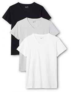Berydale T-shirt pour femmes à encolure en V, lot de 3, différrentes couleurs dans différentes couleurs, Noir/Blanc/Gris, XL