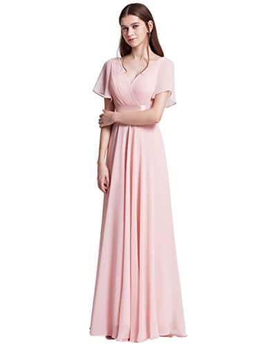 Ever-Pretty Robe de Soirée Longue Femme Col V Manches Courtes 48 Rose