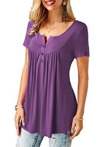 KISSMODA Tunique à Manches Courtes pour Femme Fit Flare Ruffle Vneck Violet XL,1-violet,XL