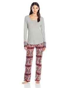 Lucky Brand Women's Henley Pajama, Paisley Stripes, Medium