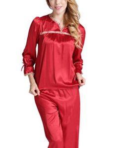 ADFHGFJ Femmes Pyjamas en Soie Loose Sleepwear Sexy Loose Long Sleeve Loisirs Et Loisirs Satin Imprimé Ensemble Classique VêTements De Nuit VêTements De Salon, l