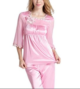 HAIYUANNAN Pyjamas en Soie pour Femmes VêTements De Nuit Sexy Loose àManches Longues en Satin Imprimé Ensemble Classique VêTements De Nuit VêTements De Salon, m